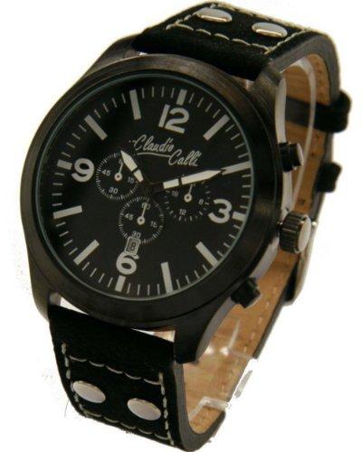 Claudio Calli Unisex Armbanduhren CAL 7783 Dummy Chronograph Schwarz Leder Schwarz Analog Quarz