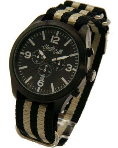 Claudio Calli Unisex Armbanduhren CAL 7787 Dummy Chronograph Schwarz und Beige Nylon Schwarz Analog Quarz