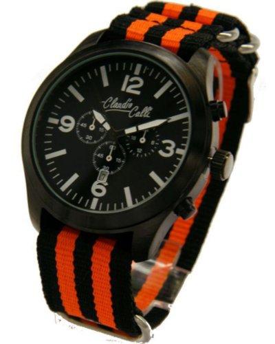Claudio Calli Unisex Armbanduhren CAL 7788 Dummy Chronograph Schwarz und orange Nylon schwarz Analog Quarz