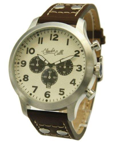 Claudio Calli Herren Armbanduhren CAL 7811 Dummy Chronograph Braun Leder Silber Analog Quarz