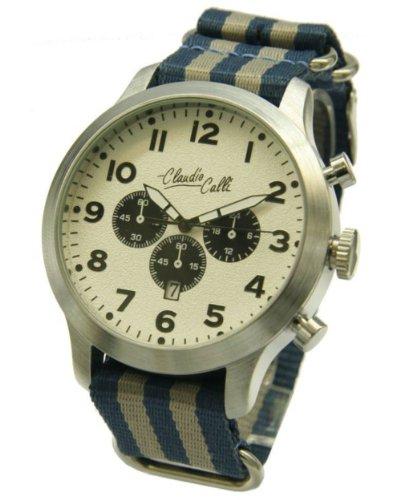 Claudio Calli Herren Armbanduhren CAL 7814 Dummy Chronograph Blau und Grau Nylon Silber Analog Quarz