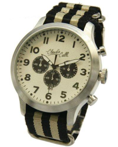 Claudio Calli Herren Armbanduhren CAL 7815 Dummy Chronograph Schwarz und Beige Nylon Silber Analog Quarz