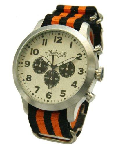 Claudio Calli Herren Armbanduhren CAL 7816 Dummy Chronograph Orange und Schwarz Nylon Silber Analog Quarz