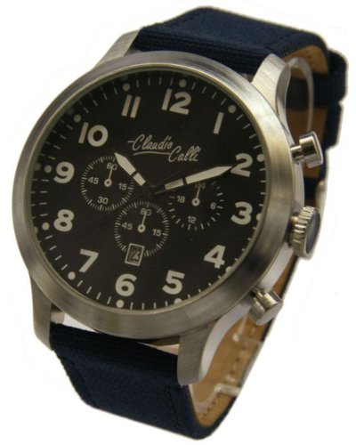 Claudio Calli Herren Armbanduhren CAL 7824 Dummy Chronograph Blau Nylon Silber Analog Quarz