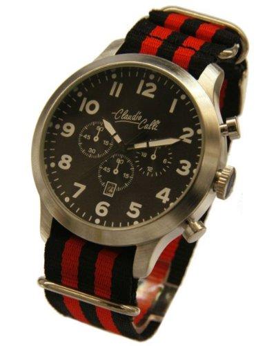 Claudio Calli Herren Armbanduhren CAL 7825 Dummy Chronograph Schwarz und Rot Nylon Silber Analog Quarz