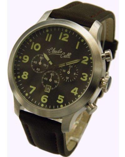 Claudio Calli Herren Armbanduhren CAL 7841Dummy Chronograph Schwarz Leder Silber Analog Quarz