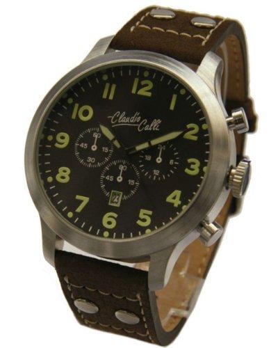 Claudio Calli Herren Armbanduhren CAL 7843 Dummy Chronograph Braun Leder Silber Analog Quarz