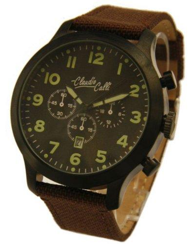 Claudio Calli Herren Armbanduhren CAL 7851 Dummy Chronograph Braun Nylon Schwarz Analog Quarz