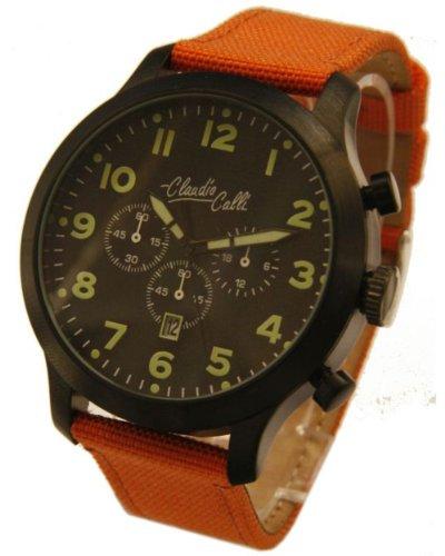 Claudio Calli Herren Armbanduhren CAL 7853 Dummy Chronograph Orange Nylon Schwarz Analog Quarz