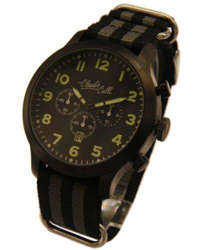 Claudio Calli Herren Armbanduhren CAL 7854 Dummy Chronograph Schwarz und Grau Nylon Schwarz Analog Quarz