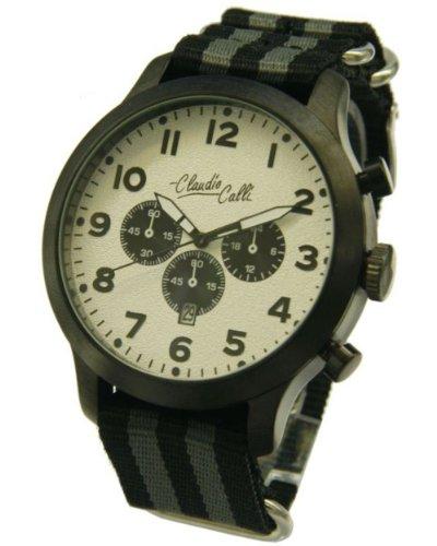 Claudio Calli Herren Armbanduhren CAL 7865 Dummy Chronograph Schwarz und Grau Nylon Schwarz Analog Quarz
