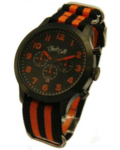 Claudio Calli Herren Armbanduhren CAL 7884 Dummy Chronograph Schwarz und Orange Nylon Schwarz Analog Quarz