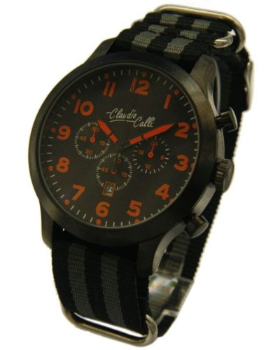 Claudio Calli Herren Armbanduhren CAL 7885 Dummy Chronograph Schwarz und Grau Nylon Schwarz Analog Quarz