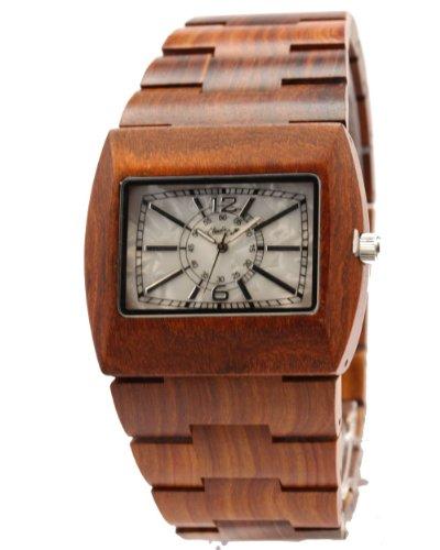 Claudio Calli Unisex Armbanduhr aus Holz CAL 6501Rot Braun Analog Quarz