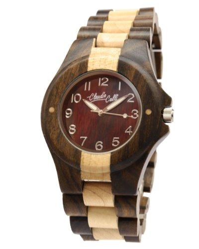 Claudio Calli Unisex Armbanduhr aus Holz CAL 6504 Braun und Beige Analog Quarz