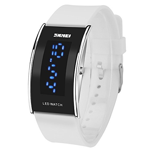 Sport Creative PU Armband LED Anzeige Kalender Rechteckig Gehaeuses Digitale Armbanduhren fuer Studenten Kinder