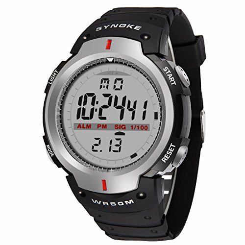 Sport Kautschuk Armband Multifunktion EL Licht Alarm Kalender 12 24 Hour Digitale Armbanduhren fuer Maenner Jungen Grau