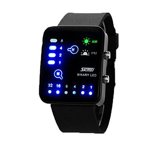 Sport Klassisch Damen PU Armband LED Anzeige Kalender Rechteckig Rectangular Binaer Armbanduhr fuer Unisex Paare