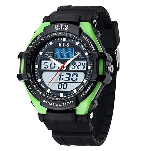 ufengke®Sport Outdoor wasserdicht calendar Dualzeit LED Licht Alarm Uhr Timer Licht armbanduhren fuer Maenner Jungen-Gruen