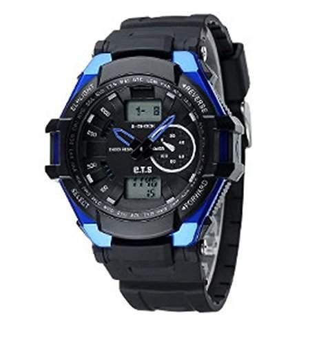 ufengke®Sport Klassik wasserdicht Stossfest calendar Dualzeit Timer Licht LED Licht Alarm Uhr armbanduhren fuer Jungen Maenner-blue