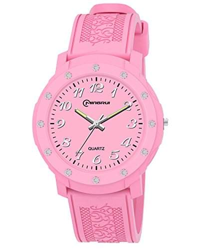 ufengke® fein exquisite druck pu armband strass-analog-quarz-armbanduhren fuer maedchen kinder, rosa