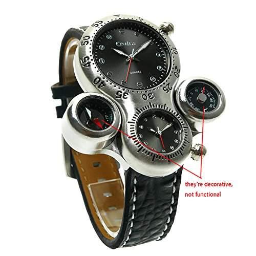 ufengke® einzigartigen laessig im freien-sportarten armbanduhren fuer maenner,thermometer zwei zeitzonen kompass handgelenk armbanduhren,schwarz