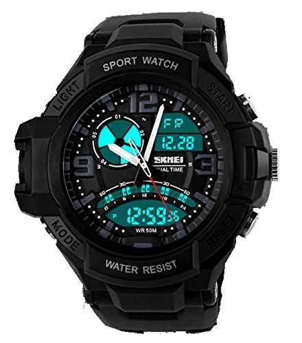 ufengke® Mode kuehlen Dual-Time-Anzeige Leucht Outdoor-Sportarten Armbanduhren fuer Maenner, Jungen, besten Wandern Tauchen elektronische Handgelenk Armbanduhren