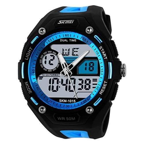 ufengke® coole Mode Dual-Display Outdoor-Sportartenarten Bergsteigen wasserdichte elektronische Armbanduhren fuer Maenner, Studenten stilvolle multifunktionale QuarzArmbanduhren, blau