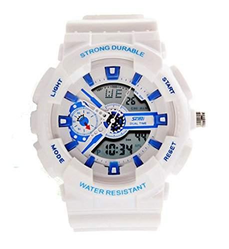 ufengke® Mode bunten wasserdichtes starke dauerhafte Handgelenk Armbanduhren, unisex multifunktionale Dual-Display Sport Armbanduhren, weiss
