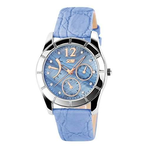 ufengke® elegantes exquisite strass zahlen kleiden armbanduhren fuer damen maedchen, band kalender wasserdicht handgelenk armbanduhren,blau, dekorative kleine Zifferblaetter