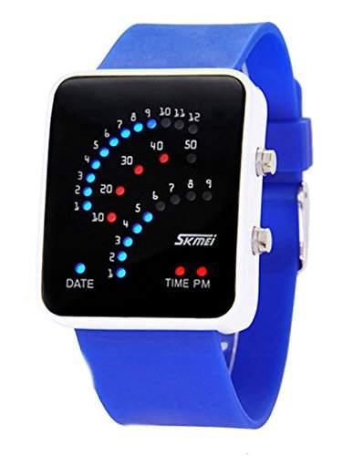 ufengke® exquisite 30 m wasserdicht binaere fuehrte elektronische armbanduhren,rechteck zifferblatt silikonband am handgelenk armbanduhren,blau