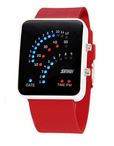 ufengke® exquisite 30 m wasserdicht binaere fuehrte elektronische armbanduhren,rechteck zifferblatt silikonband am handgelenk armbanduhren,rot