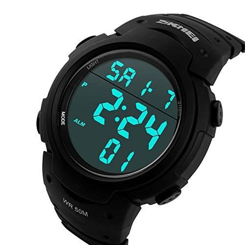 ufengke®Sport Schwimmen Wasserdicht Leucht Kalender Timer Alarm Uhr Licht elektronischer armbanduhren fuer Maenner Jungen-black