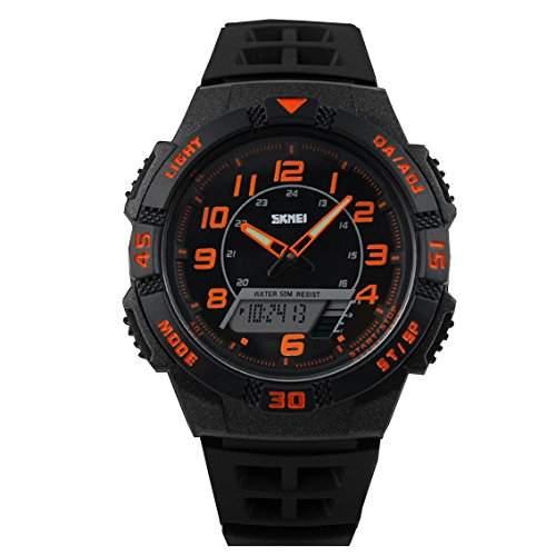 ufengke®cool Sport wasserdicht Dualzeit Leucht Tagesdatum Kalender Timer Alarm Uhr Licht armbanduhren fuer Maenner Jungen-Orange