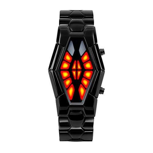 ufengke®Mode cool wasserdicht schlangenfoermigen DFUE Dual Farbe LED Licht boot Animation elektronischer armbanduhren fuer Maenner Jungen-black