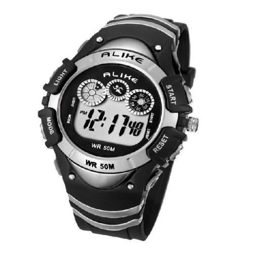 Pixnor GLEICHERMAssEN AK5106 50M wasserdicht Sport Studenten digitale Armbanduhr mit Datum Alarm TimerNacht Licht Silber