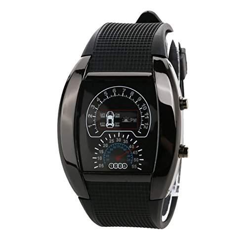 Pixnor Cool Auto Dashboard Design Dial wasserdichte Unisex blau Licht LED Sport Armbanduhr mit DatumWoche schwarz
