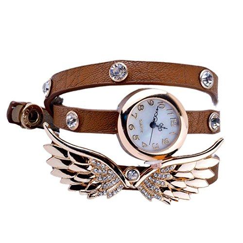SAMGU Wrsp Leder Armbanduhr Damen armband uhren Crytal Winkel fluegel Beobachten Farbe Braun