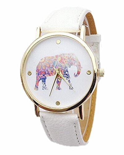 SAMGU Casual Band Lederband Armbanduhr einfache Art Elefant Quarz Uhr Frauen Farbe Weiss