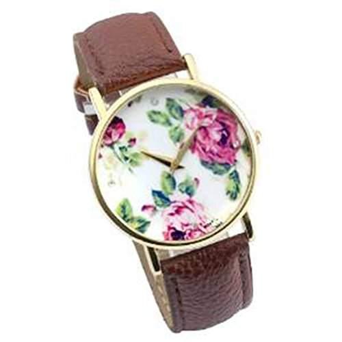 SAMGU Damen Vintage Blume Damen Armbanduhr Basel-Stil Quarzuhr Lederarmband Uhr Top Watch