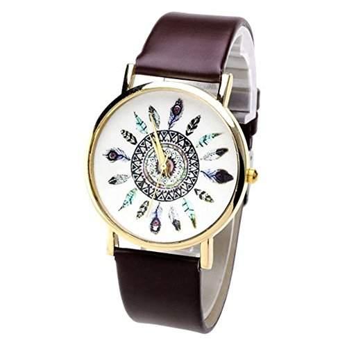 SAMGU Nouveau Damen Laessig Armbanduhr Feder Blatt Indianerstamm-Stil Quarzuhr aus Leichtmetall Lederarmband Analoge Uhr Watch Uhren