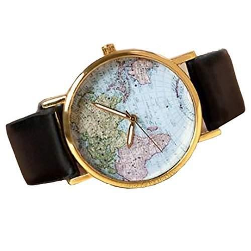 SAMGU Retro Weltkarte Uhr Lederausstattung Leichtmetall Damen Analoge Quarz Armbanduhr Schwarz Watch Uhren