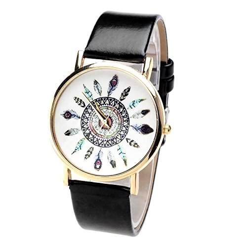 SAMGU Women Damen Laessig Armbanduhr Feder Blatt Indianerstamm-Stil Quarzuhr aus Leichtmetall Lederarmband Analoge Uhr Watch Uhren Schwarz