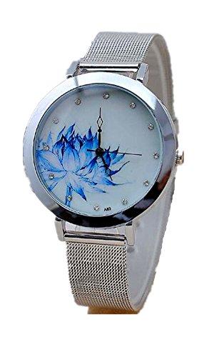SAMGU Edelstahlgewebe New Fashion Frauen runden Zifferblatt Blumen Uhr Farbe Silber