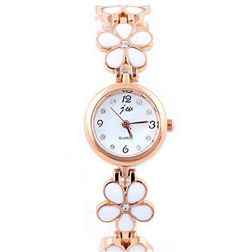 SAMGU Alloy Korean Fashion Watch Gaensebluemchen Blume Rose Gold Armband Armbanduhr Frauen Maedchen Geschenk Farbe Weiss