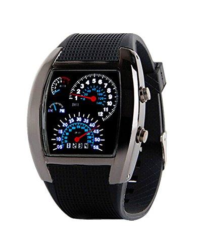 SAMGU Coole Design Fan foermige Armaturenbrett Uhren Maenner Sport LED Farbe Schwarz