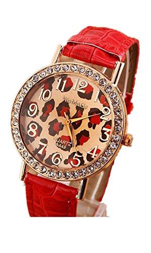 SAMGU Leder Leopard Uhren Klassischen Frauen kleid uhr Damen Quarzuhren Armbanduhr Strass Farbe Rot