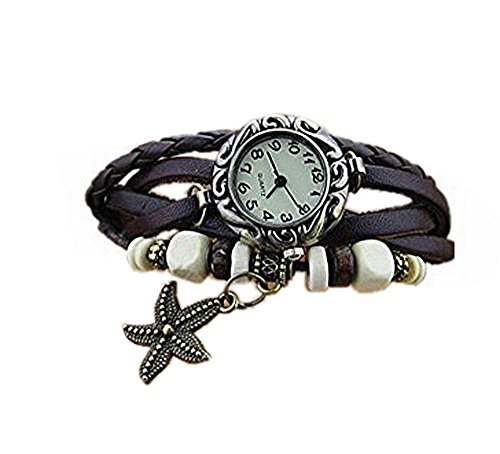 SAMGU Frauen Maedchen Retro Leder Armband Starfish Dekoration Farbe Braun