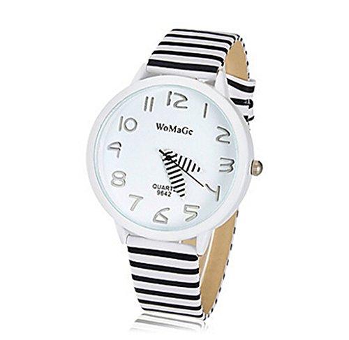 SAMGU Leder Quarzuhr Fahsion Zebra streifen uhr Unisex Armbanduhr Vogue Farbe Schwarz