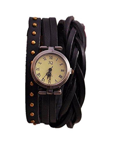 SAMGU Leder Twist Wrap Armband Uhr Weinlese Niet Dame Quartz Armbanduhr